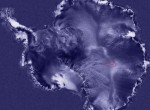 A satellite photo of Antarctica showing (red oval) the location of Lake Vostok. Photo: NASA-GISS