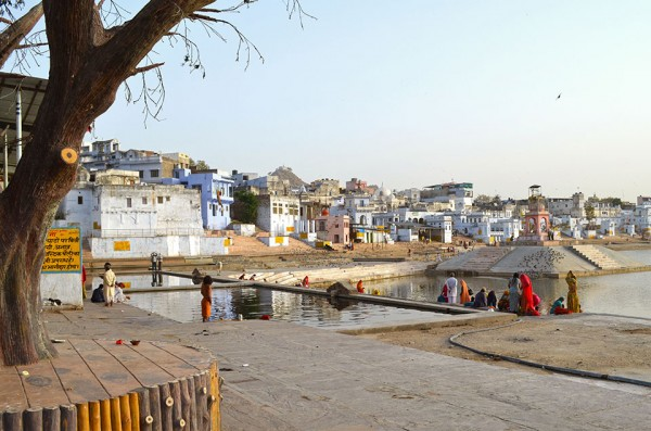 <h4>Morning bathers at a ghat on Pushkar Lake, Rajasthan</h4>Water is intimately bound up with Hindu ritual and practice and Pushkar is home to the most important temple to the creator god Brahma in India. Some 52 ghats—steps that lead down to a holy body of water—line Pushkar Lake.