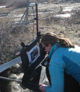 Beth collects data from the magnetic ground station after the flight. (photo K. Tinto)