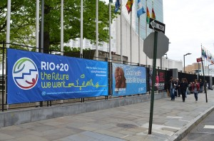 Rio+20 The Future We Want banner at entrance to the the United Nations