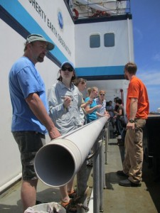 Learning about how to take sediment cores.