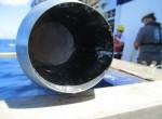 Beautiful white sediment inside the core barrel.