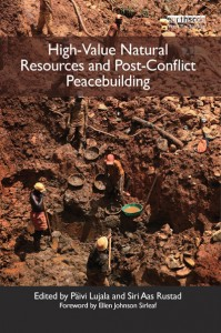 "thumbnail from book ""High Value Natural Resources and Post-Conflict Peacebuilding"" showing miners working in an open field"
