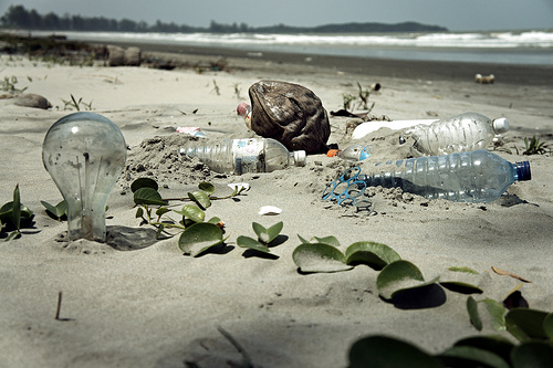Waste pollution at the garbage beach of Malaysia