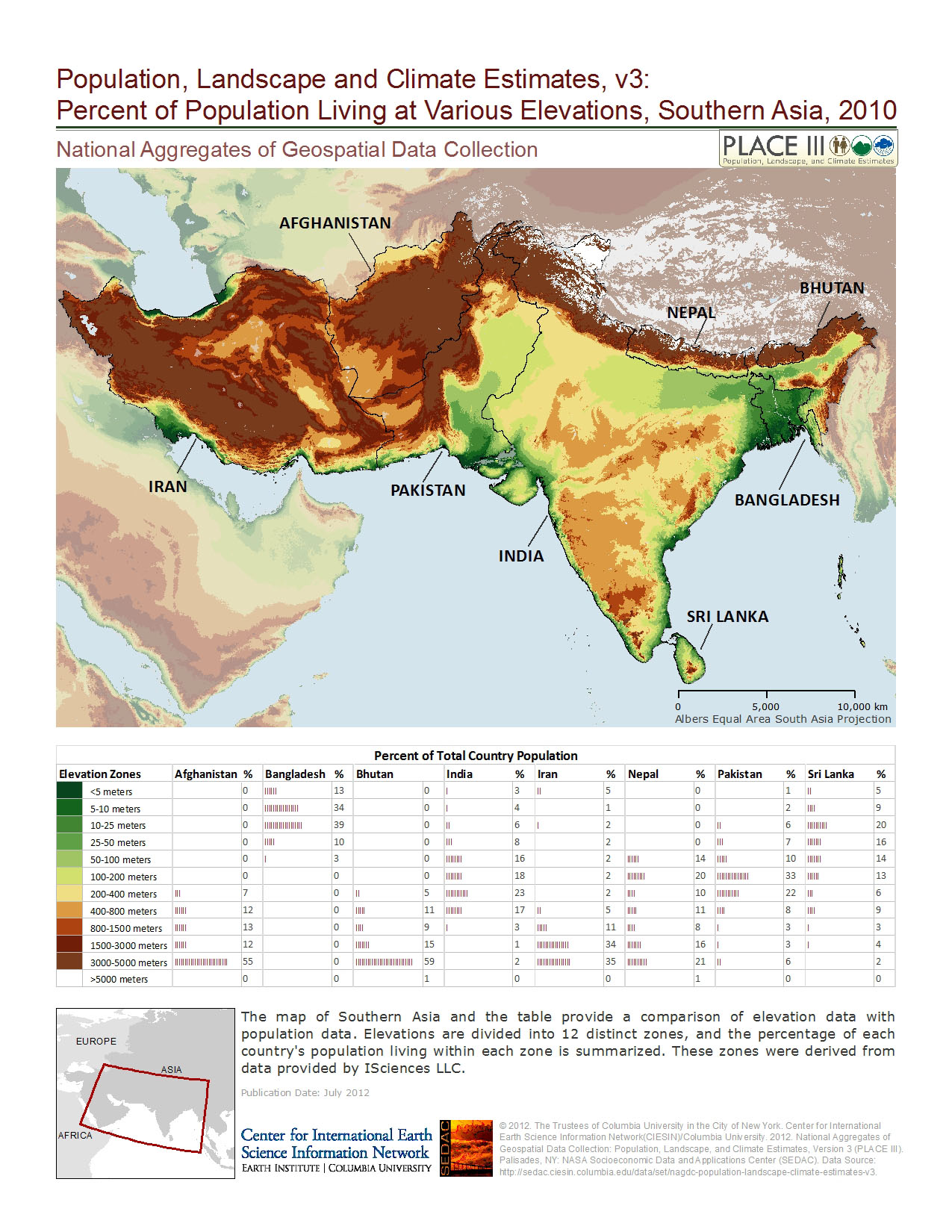 The Intersection Of Population And Elevation Examined - Altitude above sea level map