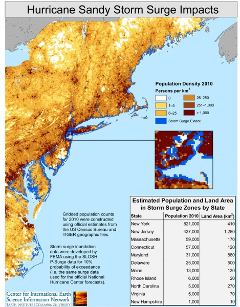 Map showing coastal areas likely to have been inundated by the storm surge resulting from Hurricane Sandy in relationship to residential population.