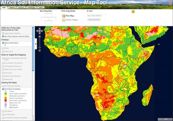 screenshot of image of soil nutrient availability throughout Africa