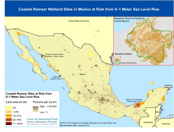 map showing coastal ramsar wetlands sites in Mexico at risk from 0-1 meter sel level rise