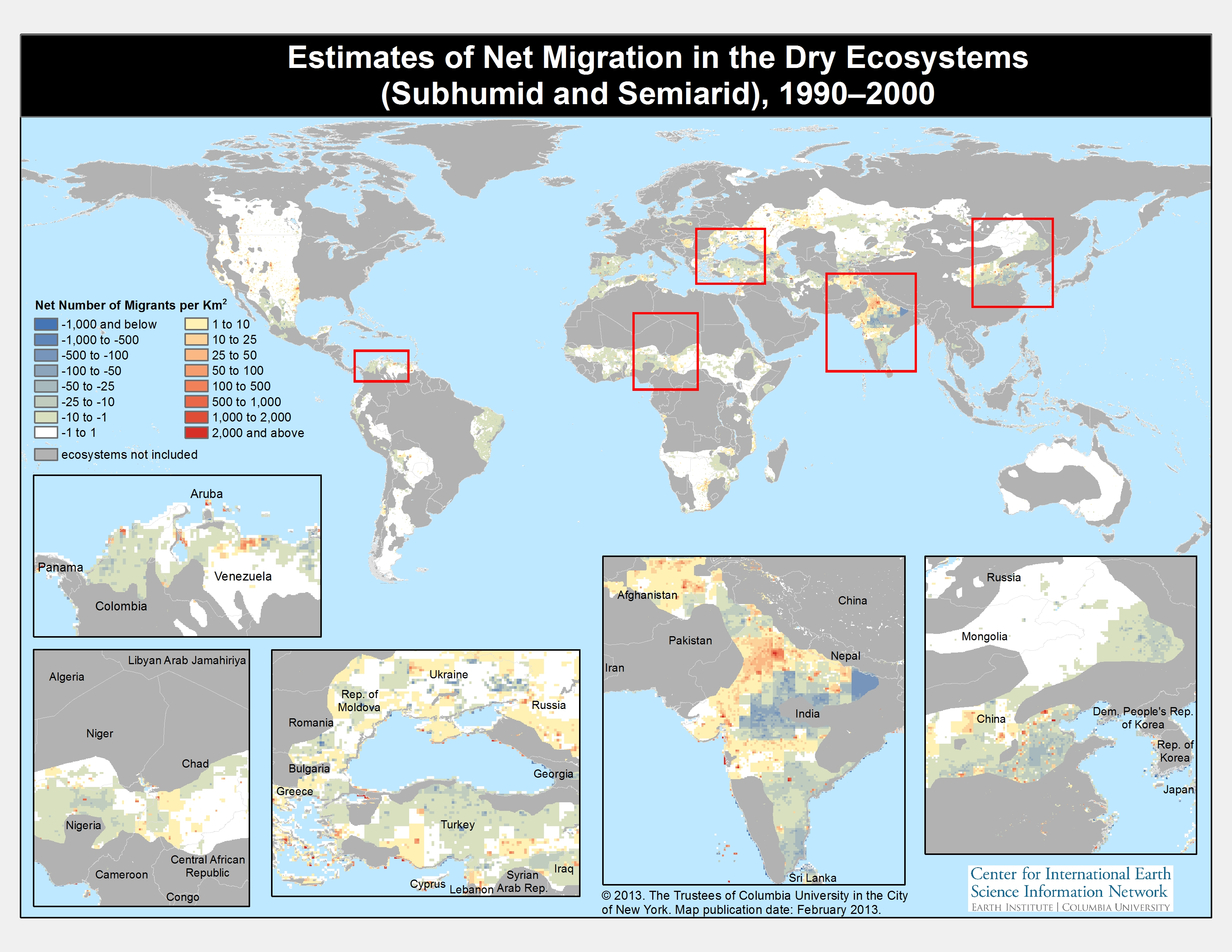 Migration in risk prone areas map showing estimates of net migration for dryland areas of the world gumiabroncs Images