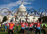Climate Ride participants celebrating the end of their 300 mile ride in Washington, D.C.