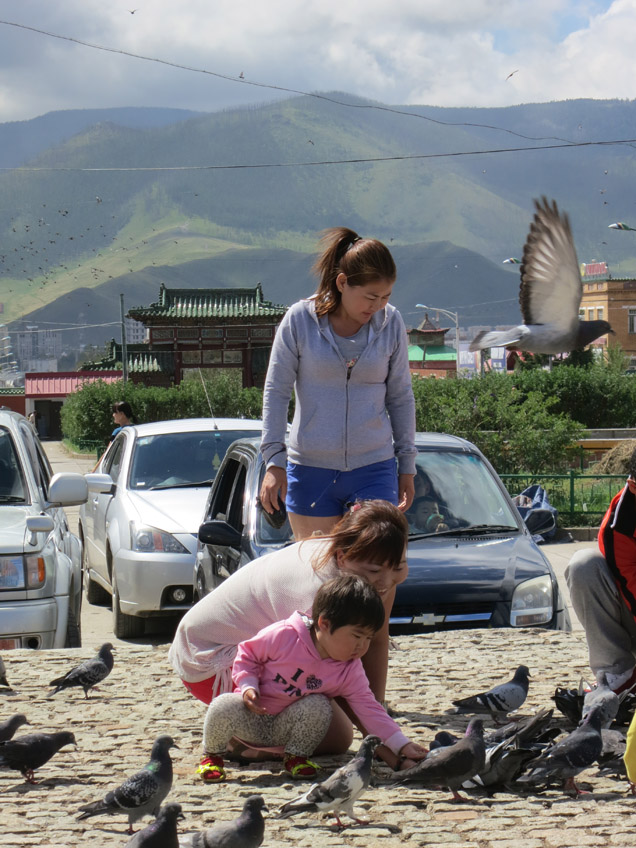 In the capital, generations  of a family reconnect with nature by feeding pigeons in the main courtyard of Gandantegchinlen monastery, where both birds and humans flock daily.