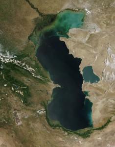 Eutrophication in the Caspian Sea. Photo credit: Jeff Schmaltz, NASA