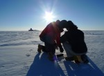 Setting GPS station Raven Camp, Greenland (Image M. Turrin)
