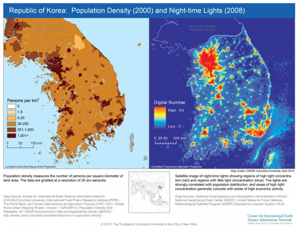 Map showing population density and nighttime lights in South and North Korea