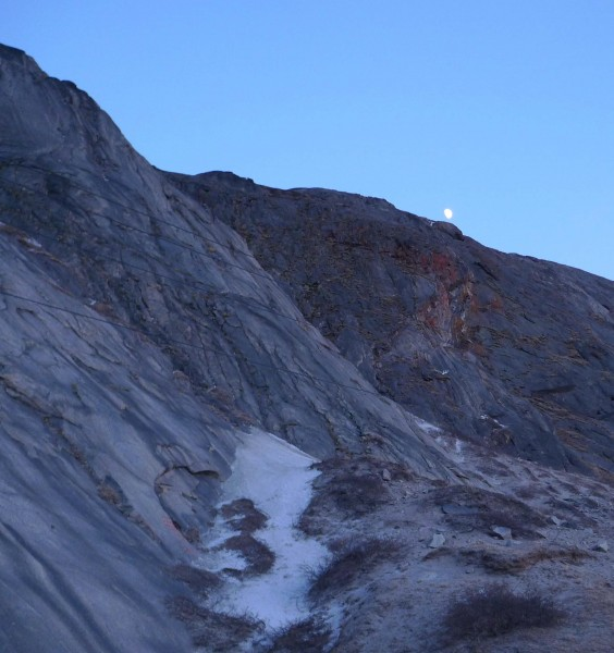 Raven Hill, also known as Black Hill, rises above the town of Kangerlussuaq.