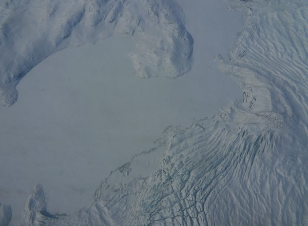 Quick moving ice collapses along the edges of a lake forming crevasses and ridges. (Image M. Turrin)