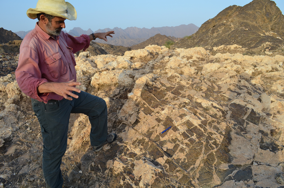 In places, the carbonation process has run its course and occupied nearly every possible pore space of rock. Kelemen admires a weathered peridotite outcrop heavily laced with veins and crowned with a solid mass of carbon minerals.