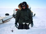 Andy Juhl records the temperature of the ice every 10cm for the length of the core.