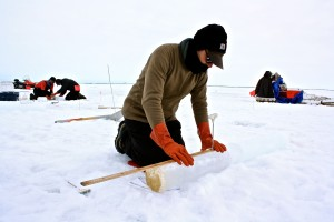 Andy Juhl measures and creates a temperature profile for each core drilled from the ice.