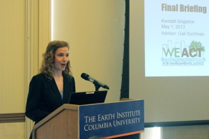 "Kendall presenting findings for her Workshop team's project entitled ""Assisting Congress to Better Understand Environmental Justice"" at the spring 2013 MPA in Environmental Science and Policy Final Briefings."