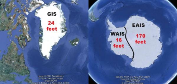 Greenland, Antarctica, ice sheets