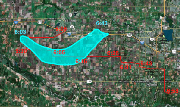 Map 1: GPS log file for the chase, plotted by the red path, while overlaid in light blue is the damage path of the El Reno EF-5 tornado. Note that times correspond to GPS position. Our closest approach to the tornado was likely when were about to cross US81 where I estimate it was within 1 mile of our position directly to the west. Source: Spotter network GPS log file and NWS tornado path file, plotted at http://www.gpsvisualizer.com/