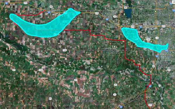 Map 2: Full chase GPS log for the 31st of May west of Oklahoma City. Chase began at 4:50 pm and continued through 8 pm. The two light blue areas correspond to the (left) El Reno EF-5 that occurred between 6:03 and 6:43, and the (right) Airport/South OKC EF-1 that began at 6:51 and continued through 7:23pm. Note the closest approach to the second tornado path was at 6:50, and the tornado quickly became rain-wrapped, which is when the decision was made to turn south. Source: Spotter network GPS log file and NWS tornado path file, plotted at http://www.gpsvisualizer.com/