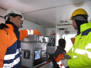 Juerg Matter (on L) and a colleague from Reykjavik Energy in Iceland. Photo: Martin Stute, LDEO)