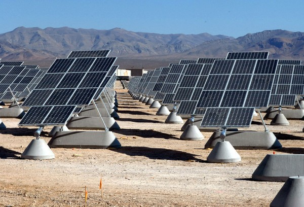 The largest photovoltaic power plant in the United States at Nellis Air Force Base in Nevada. The plant occupies 170 acres and has a 15 megawatt capacity.