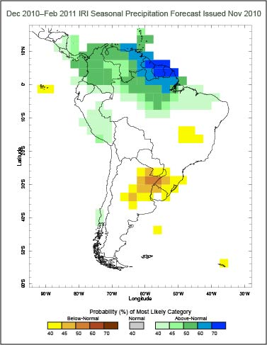 Map showing drought conditions in Uruguay, winter, 2010