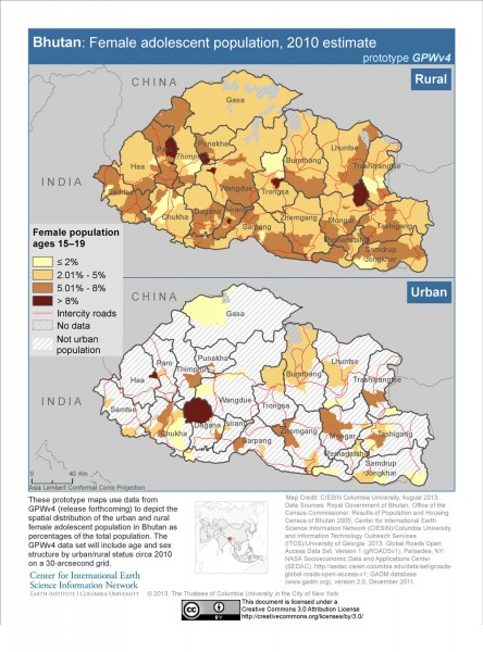 map of population distribution of  adolescent females in Bhutan