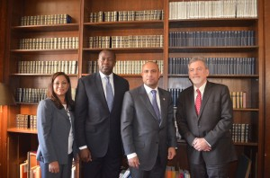 From left to right: Haiti Research and Policy Program Director Tatiana Wah, Liberian Minister of Finance Amara Konneh, Haitian Prime Minister Laurent Lamothe, and CGSD Director Glenn Denning