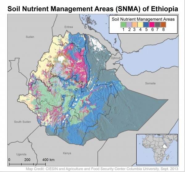 Map showing 8 soil management areas of Ethiopia.