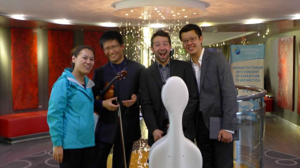 Our world famous concert musicians with Xiaojun Yuan,  Dan Zhu (violinist),  Gregrio Robino (cellist) and Ning An (pianist) R to L (Photo M. Turrin.