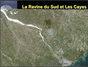 Satellite Image of the river basin of Les Cayes, South Department, Haiti. The white area shows the dry stony river bed.