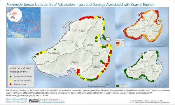 Map showing loss and damage associated with coastal erosion in Micronesia, Kosrae