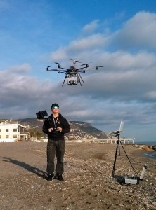 Flying a large drone used for monitoring beaches.
