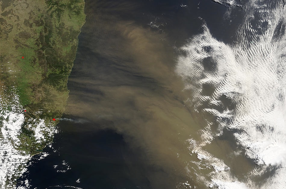 Understanding where the dust that's in the atmosphere and oceans comes from can help scientists estimate its impact on earth's climate system. In this satellite image, a dust storm is blowing off the eastern coast of Australia. (NASA SeaWiFS)