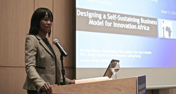 "Current Sustainability Management student Fatou Jabbie presents the mid-semester findings for the ""Design Self-Sustaining Business Model for Innovation Africa"" workshop team."