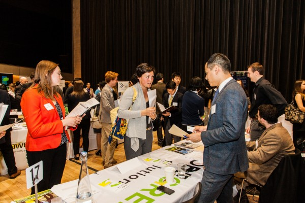 Current M.S. in Sustainability Management student Jeremy Capungcol represents CodeGreen Solutions at the 2014 All-Ivy Career Fair.