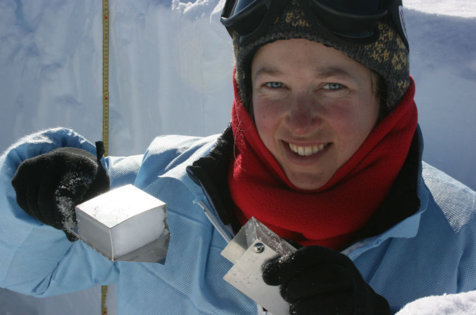 Koffman will compare the geochemical signatures of dust from New Zealand with dust from Antarctica to see how much New Zealand dust managed to reach Antarctica. Here she collects samples from a snow pit in West Antarctica. (Thomas Bauska)