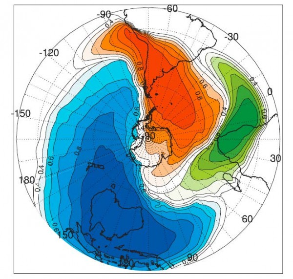 Australia is the main source of dust to the South Pacific, as this 2008 model by Princeton researcher Fuyu Li shows. Koffman is looking at the possibility that New Zealand contributed dust as well, at least during past ice ages.