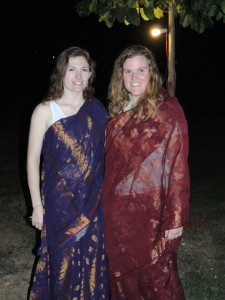 Rebecca and Nichole in the saris they purchased.