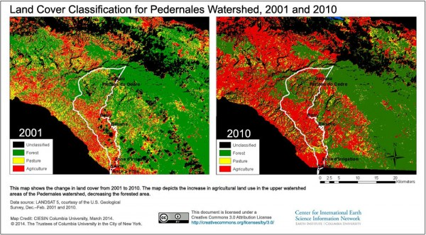 2001 mapon the left  and 2010 map on the right show change in landcover classification on the border between Haiti and Dominican Republic