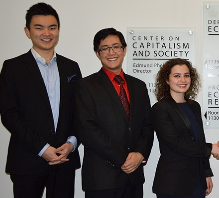 From left: winners Andy Zhang, CC '16, Raymond de Oliveira, CC '16, and Francesca Audia, GS '15. Photo: Columbia Spectator