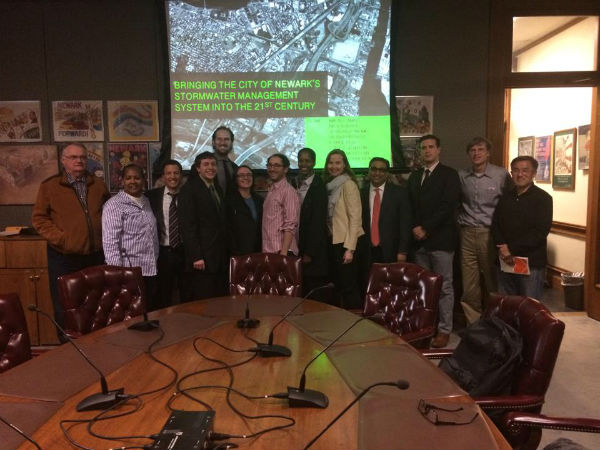 The Newark Water capstone project team meets with its client, the Newark Water Group, to discuss infrastructure recommendations for the city.