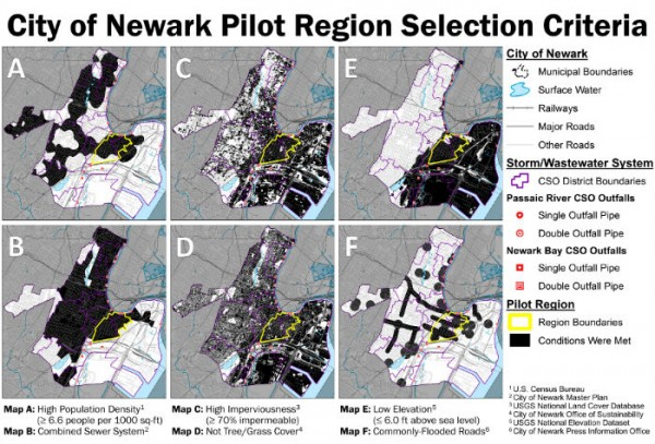 The Newark Water team's proposed pilot region selection process to test implementation of green infrastructure.