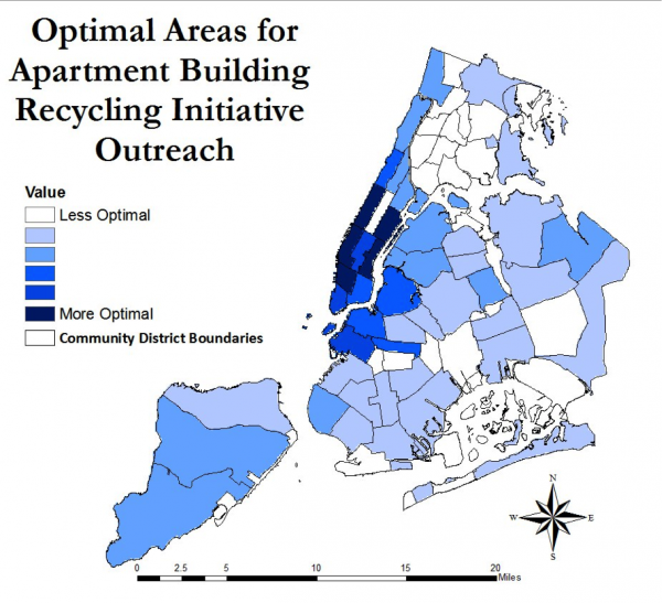 Geographic recommendations for optimal recycling outreach.