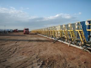 Water tanks preparing for fracking.