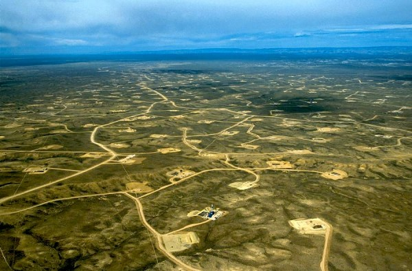 Aerial view of the Jonah natural gas field in Wyoming. Photo: Peter Aengst